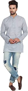 Maple Clothing Cotton Short Kurta Men's Solid Color Fashion Shirt Indian Clothes