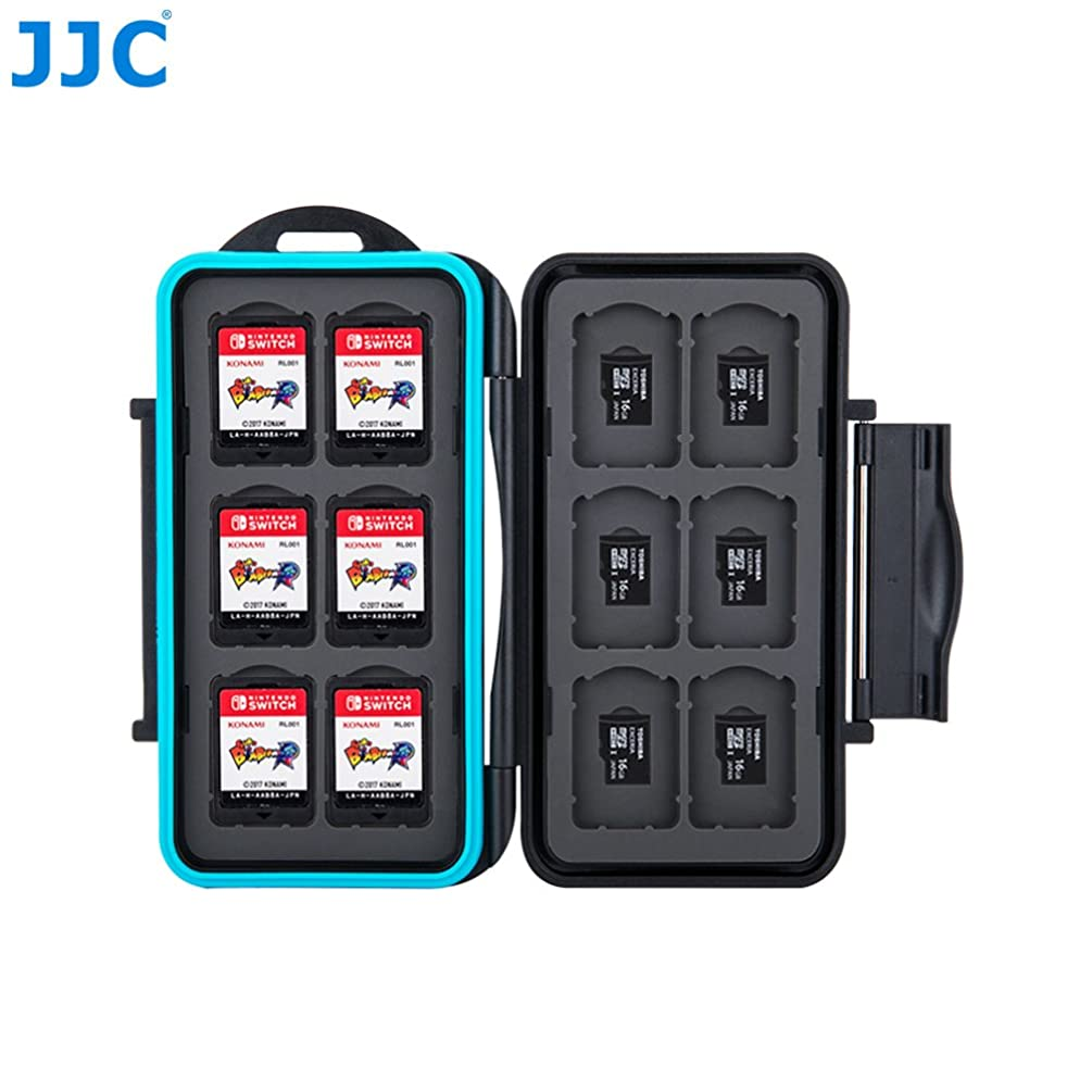 JJC Black Memory Card Case for Nintendo Switch Game Card × 12 + Micro SD card × 12