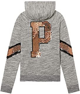 Victoria's Secret Pink Bling Perfect Full Zip Hoodie Jacket Gray Sequins Large