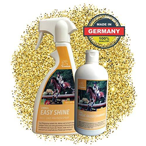 EMMA® Mähnenspray für Pferde I Schweifspray I SPARSET I Pferdepflege I Plus Pferdeshampoo Kamille I Glanzspray 2 X 500 ml