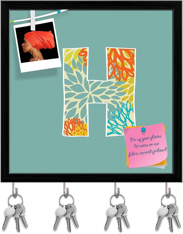 Artzfolio Floral Letter H Key Holder Hooks   Notice Pin Board   Black Frame 20 X 20Inch