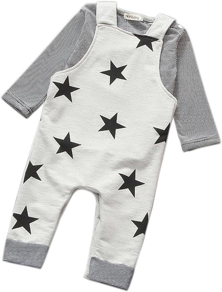 Aoliandatong Baby Cute Dinosaur Long Sleeve T-Shirt /& Knit Denim Jumpsuit Overalls