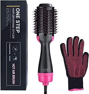 Goglor One Step Hair Dryer and Volumiser, Ionic Hair Straightener Hot Air Brush Fab Hair One Step Electric Salon Negative Ion Curly Hair Comb with Heat Resistant Glove