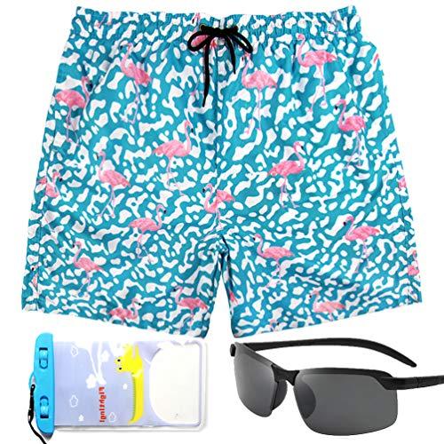 Xmbanma Funny Mens Swim Trunks Men Shorts with Mesh Lining and Pockets, Flamingo Mens Quick Dry Shorts