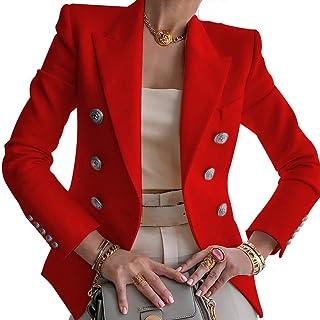 Puimentiua Blazer Formal Solapa para Mujer Chaqueta de Traje Jacket Ligero de Trabajo Oficina Cárdigan de Manga Larga con ...