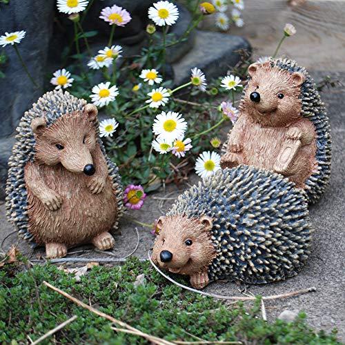 Farmwood Set of 3 Hedgehog Garden Animal Ornaments Outdoor Statues
