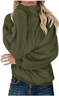 iHHAPY Womens Winter Coat Short Plush Jacket Parka Solid Zipper Jacket Lapel Jacket Faux Wool Jacket Oversize Warm Coat
