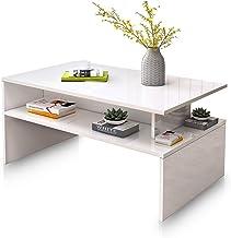 Coffee Table High Gloss Console Cabinet Storage Shelf Wood Living Room Modern Furniture White