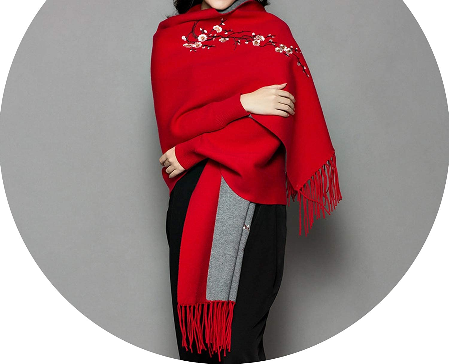 New scarves and stoles Autumn winter Plum embroidery white pink scarf Doubleduty cape cashmere long sleeves,Bright red and grey