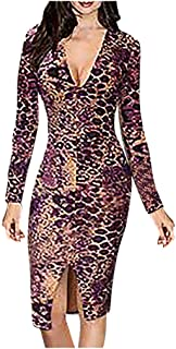 Women V-Neck Sexy Split Party Dress, Ladies Leopard Printed Long Sleeves Mini Dress