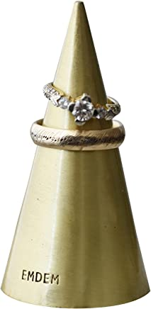 Emdem Apparel His and Hers Wedding Ring Holder Cone for Jewelry Brush Gold