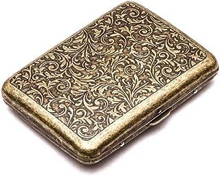 Retro Metal Cigarette Case Box - Conbo Double Sided Spring Clip Open Pocket Holder for 20 Cigarettes (Golden)