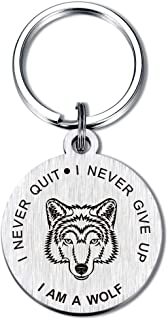 Wolf Keychain Inspiratinal Gifts Key Chain Saying I Never Give Up Never Quit for Women Teen Girls Daughter
