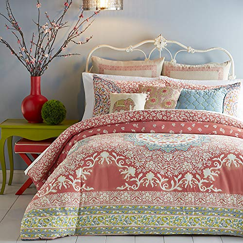 King 3pc Amrita Medallion Comforter Set Coral/White/Blue - Jessica Simpson