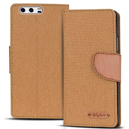 Verco P10 Plus Hülle, Schutzhülle für Huawei P10 Plus Tasche Denim Textil Book Hülle Flip Hülle - Klapphülle Braun