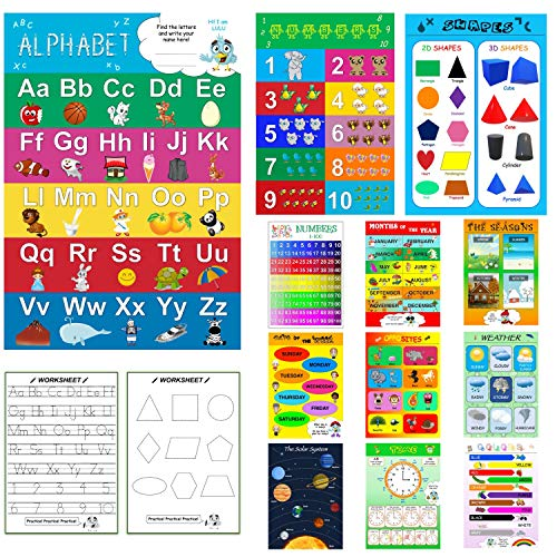 Preschool Learning Educational Wall Posters with Worksheets for Toddlers and Kids - Laminated Homeschool Supplies Including Alphabet-Abc Poster, Number, Weather, Calendar Chart (12+5 Pieces) by AnKa