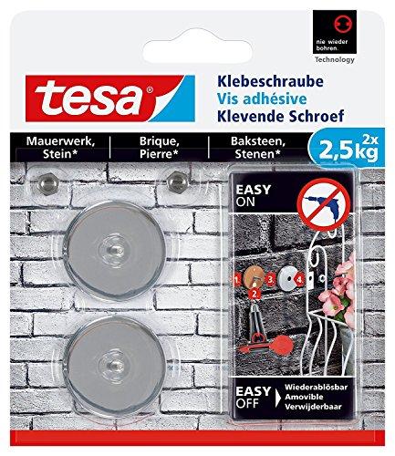 tesa® Klebeschraube für Mauerwerk und Stein, 2,5 kg (rund / 3er Pack = 6 Schrauben)