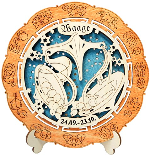 Kaltner Präsente geschenkidee - houten sterrenbeeld met standaard weegschaal (Ø 155 mm)