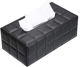 Sumnacon Stylish PU Leather Tissue Box Holder, Rectangular Napkin Holder Pumping Paper Case Dispenser, Facial Tissue Holder with Magnetic Bottom for Home Office Car Automotive Decoration, Grid Black