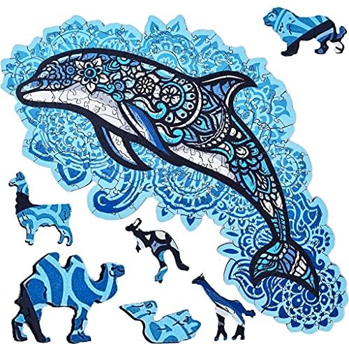 ELAB Toys®, Holzpuzzle für Erwachsene, Tierpuzzle, Puzzle, Stressabbau, Lernspielzeug, einzigartiges Delphinpuzzle, 220 Stück, 40 Tiere [Großes Format]