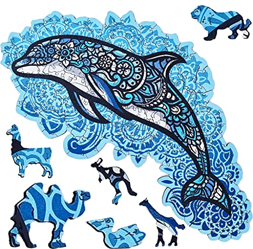 ELAB Toys®, Rompecabezas de madera para adultos, Puzzle de madera de animales, regalo ideal, puzzle para adultos, para aliviar el estrés, rompecabezas de delfines único,hecho en Europa