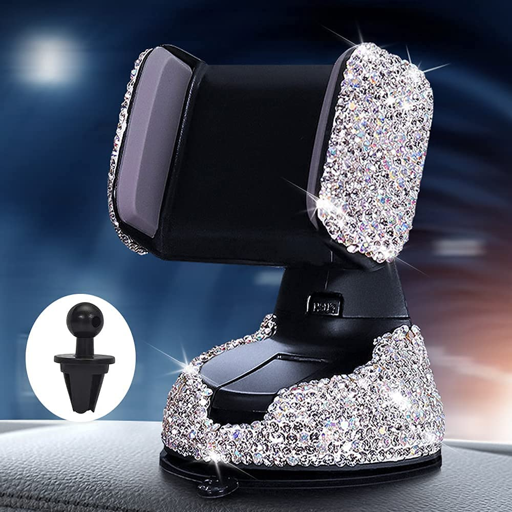 Bling Car Phone Holder,360°AdjustableAuto Cell Phone Mount Universal Rhinestone Holder Cradle for Dashboard,Windshield and Air Vent (White)