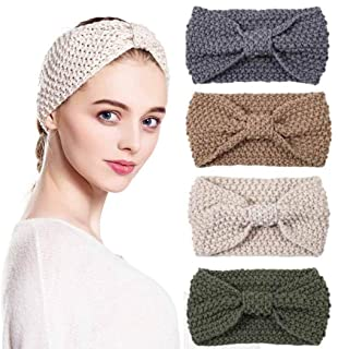 Brishow Retro Cross Headband Boho Elastic Knitted Head Wrap Scarf Vintage Stretchy Hair Accessories for Women and Girls (Pack of 4)