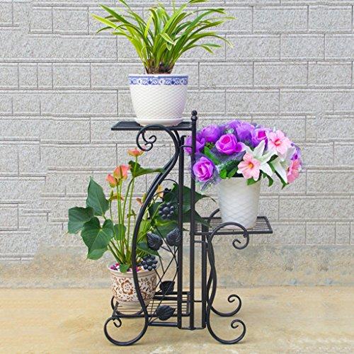 QFF Porte-fleurs Porte-fer Fer Forgé Porte-greniers Radis Vert Salon Balcon Bureau intérieur Débarquement Chlorophytum Porte-pot antique ( Couleur : Noir )