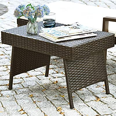 GOFLAME Wicker Table Patio Outdoor Poolside Garden Lawn Bistro Foldable Portable Leisure Standing Coffee Side Table, Espresso Brown