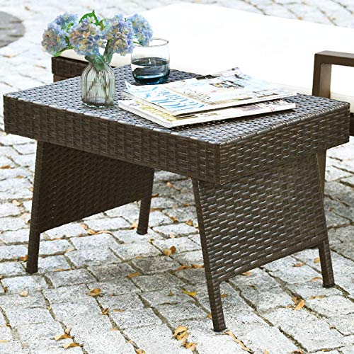 GOFLAME Wicker Table Patio Outdoor Poolside Garden Lawn Bistro Foldable Portable Leisure Standing...