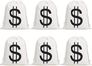 Halloween Money Sign Candy Bag Sack with Dollar Mark, Perfect for Kids, Teens Trick and Treat. (Money Bag 6 Pc)