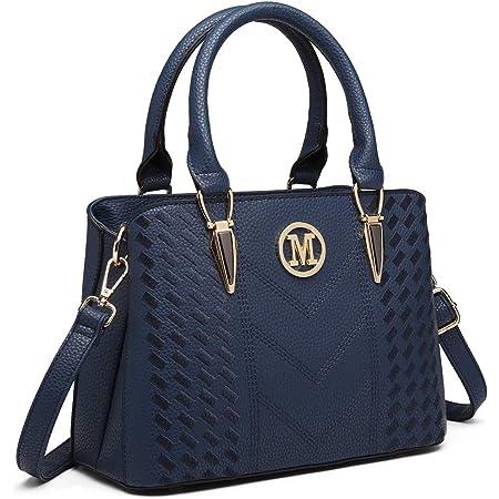 Miss Lulu Damen Handtasche Umhängetasche Shopper Tote Henkeltasche Top-Griff Tragentasche LG6865 (Blau)