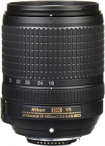 Nikon AF-S DX NIKKOR 18-140mm f/3.5-5.6G ED VR Lens, Black