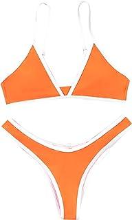SOLY HUX Women's Spaghetti Strap High Cut Bikini Set Swimsuits Orange S