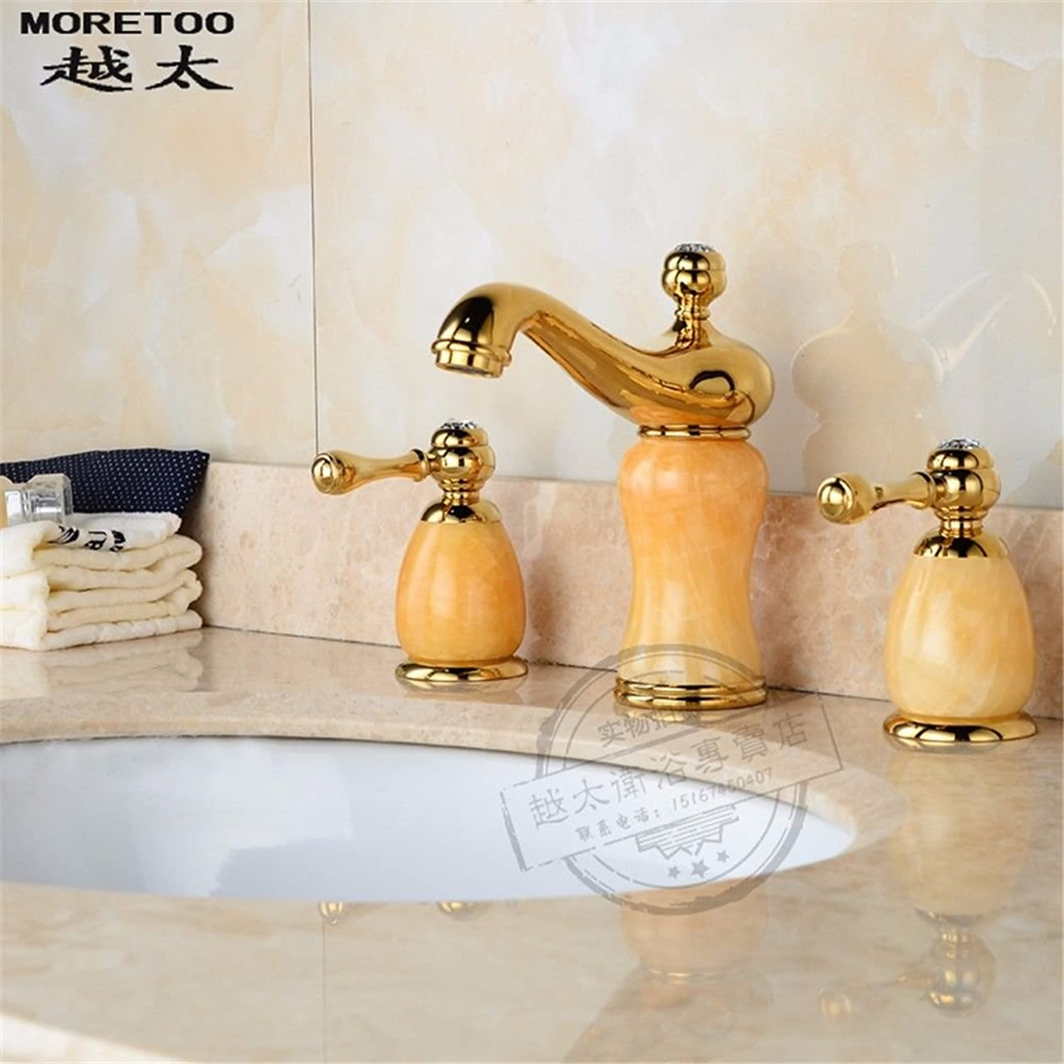 Lpophy Bathroom Sink Mixer Taps Faucet Bath Waterfall Cold and Hot Water Tap for Washroom Bathroom and Kitchen Double Three-Hole Split Hot and Cold Copper