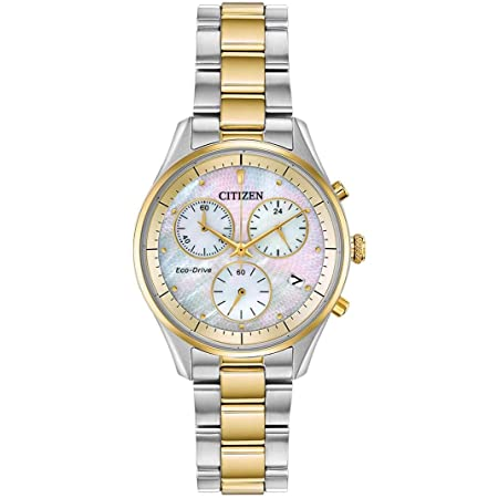 Citizen Eco-Drive Chandler Chronograph Womens Watch, Stainless Steel, Casual, Two-Tone (Model: FB1444-56D)
