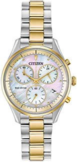Eco-Drive Chandler Chronograph Womens Watch, Stainless Steel, Casual, Two-Tone (Model: FB1444-56D)