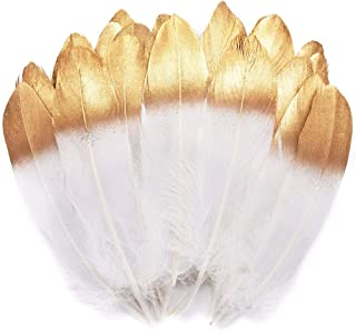 TommoT 50 Pcs 6-8 Inch Gold Dipped Natural White Goose Feathers for Party Dress-ups and DIY Crafts