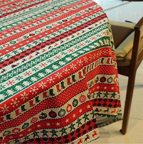 Nappe en lin Tissu Rouge à bandes Home pique-nique à la poussière Antifouling doux Premium Table Décorations de Noël 140*200cm