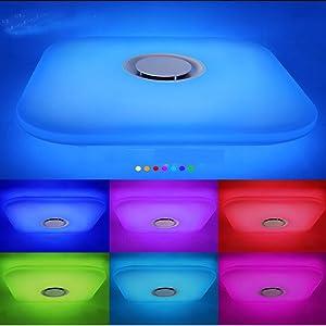 Plafoniera LED con Telecomando HOREVO 36W Moderna Soffitto Dimmerabile e Altoparlante Bluetooth Multi Color Cambiamento, Ø 48cm, 6500K,Lampada per Camera da Letto Salotto Living- Telecomando Incluso