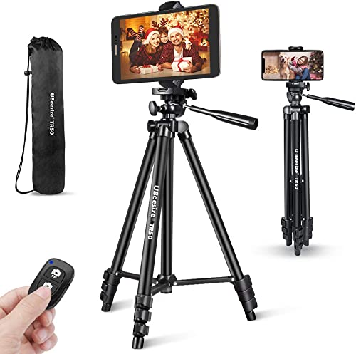 Phone Tripod, UBeesize 50'' Extendable Lightweight Aluminum Tripod Stand with Universal Cell Phone/Tablet Holder, Rem...