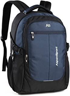 ASPENSPORT Laptop Backpack for Man Fit 15.6 Inch College Student Bookbag Business Travel Computer Bag Durable Waterproof Large Daypack Lightweight for Women (Black/Navy(32.5L))