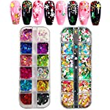 24 Boxes Nail Art Sequins, Tingbeauty Heart Shape Star Snowflake Christmas Tree Laser Sequins, Flakes Colorful Confetti Nail Glitter for DIY Design Face Body Make Up Christmas Decorations