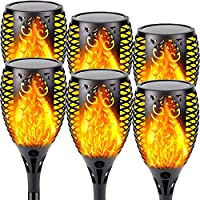 6-Pack EW Solar Outdoor Torch Light with Vivid Flickering Flame