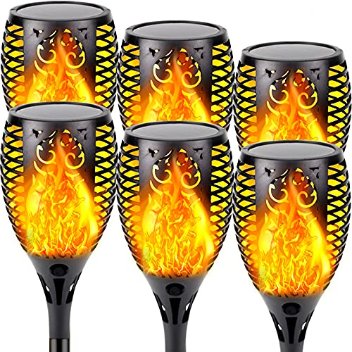 EEW Solar Lights Outdoor, Super Large 6 Pack Waterproof Solar Torch Light with Vivid Flickering Flame Solar Landscape Decorative Lighting Dusk to Dawn Auto On/Off Pathway Lights for Garden Driveway
