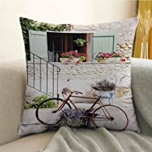 Microfiber Sofa Cushion Cover Bedroom car Decoration European French Mediterranean Rural Stone House with Bike Countryside Provence Day Photo W24 x L24 Inch Multi
