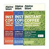 Alpine Start Premium Instant Coffee Variety 3-Pack, Original Blend, Coffee and Creamer Latte, and Dirty Chai Latte, 18 Single Serve Packets