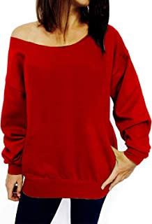 LYXIOF Womens Off Shoulder Sweatshirt Slouchy Shirts Sexy Long Sleeve Pullover Tops