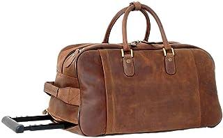 Ashwood Leather Mens Chelsea Veg Tan Albert Wheeled Travel Holdall - Mud Brown