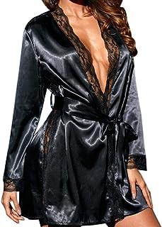 comprar comparacion SHOBDW Ropa de Dormir Ropa Interior De Mujer Babydolls Conjunto De Lencería Sexy Satén De Seda Kimono Vestir Encaje Bata D...